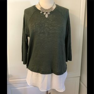 NEW Forever 21 Olive & Cream Long Sleeve Top